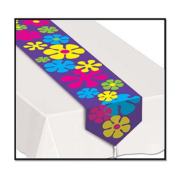 Bulk table runners party supplies printed 60s table for 60s party decoration