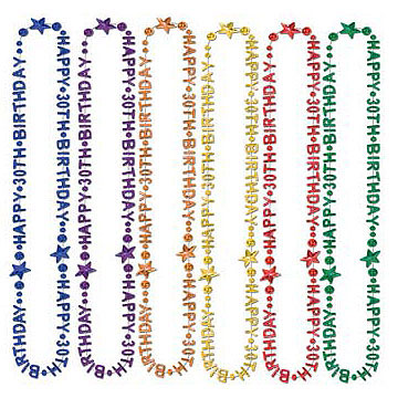 Click For Larger Picture Of HAPPY 30TH BIRTHDAY BEADS 12 CS PARTY SUPPLIES