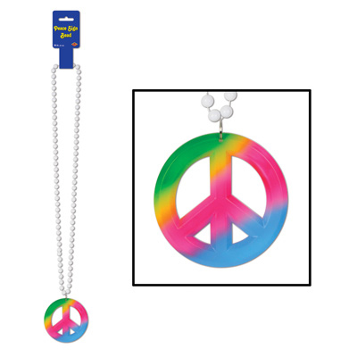 Click for larger picture of BEADS PEACE SIGN MEDALLION (12/CASE) PARTY SUPPLIES