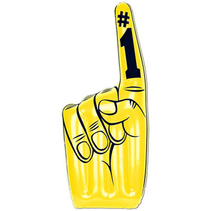 Click for larger picture of YELLOW INFLATABLE #1 HAND PARTY SUPPLIES