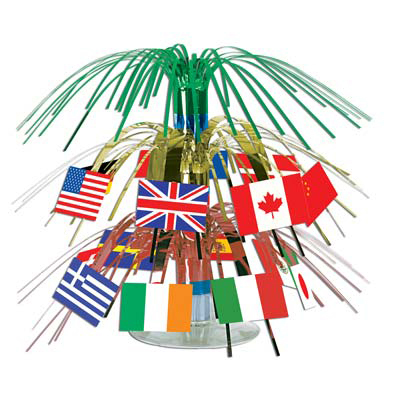 Click for larger picture of INTERNATIONAL FLAG MINI CENTERPIECE (12/ PARTY SUPPLIES