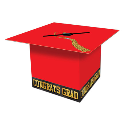 Click for larger picture of GRAD CAP CARD BOX RED PARTY SUPPLIES