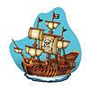 PIRATE SHIP WALL PLAQUE (12/CS) PARTY SUPPLIES