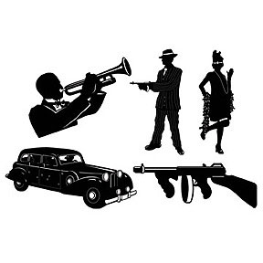 Click for larger picture of GANGSTER SILHOUETTES PARTY SUPPLIES