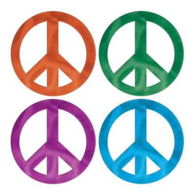 Click for larger picture of FOIL PEACE SIGN CUTOUTS (24/CASE) PARTY SUPPLIES
