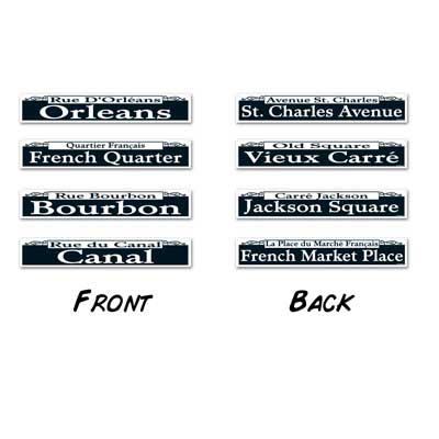 Click for larger picture of MARDI GRAS STREET SIGN CUTOUTS (48/CS) PARTY SUPPLIES