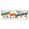 HAPPY 50TH BIRTHDAY SIGN BANNER (12/CS) PARTY SUPPLIES