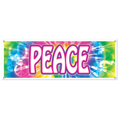 Click for larger picture of PEACE SIGN BANNER (12/CASE) PARTY SUPPLIES