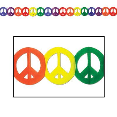 Click for larger picture of PEACE SIGN GARLAND (12/CS) PARTY SUPPLIES