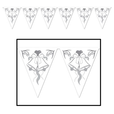 Click for larger picture of WEDDING BELLS PENNANT BANNER (12/CS) PARTY SUPPLIES