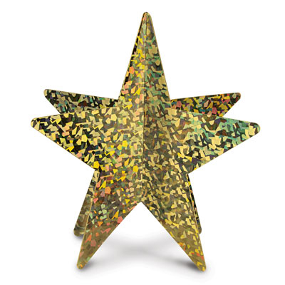 Click for larger picture of 3-D PRISMATIC STAR CENTERPIECE (12/CS) PARTY SUPPLIES