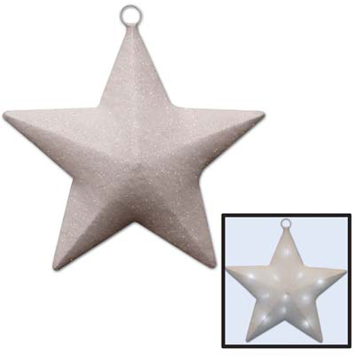Click for larger picture of LIGHT-UP SPARKLE STAR WHITE (1/CS) PARTY SUPPLIES