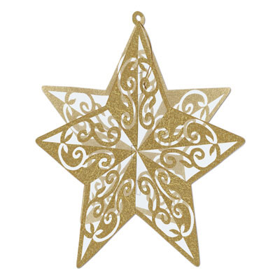 Click for larger picture of GOLD GLITTER STAR CENTERPIECE (12/CS) PARTY SUPPLIES