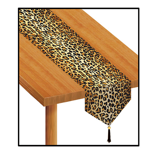 Click for larger picture of LEOPARD PRINT TABLE RUNNER (12/CS) PARTY SUPPLIES