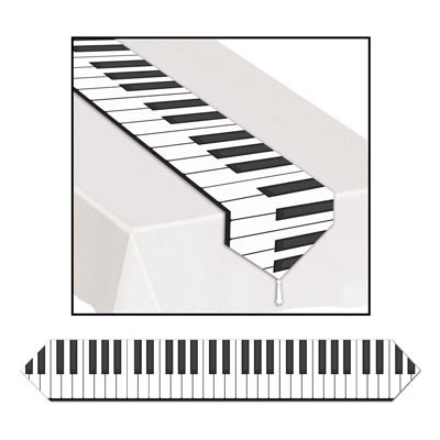 Click for larger picture of PRINTED PIANO KEYBOARD TABLE RUNNER (12/ PARTY SUPPLIES