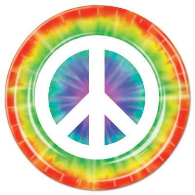 Click for larger picture of PEACE SIGN PLATES (96/CS) PARTY SUPPLIES