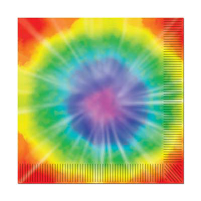 Click for larger picture of TIE-DYED BEVERAGE NAPKINS (192/CS) PARTY SUPPLIES