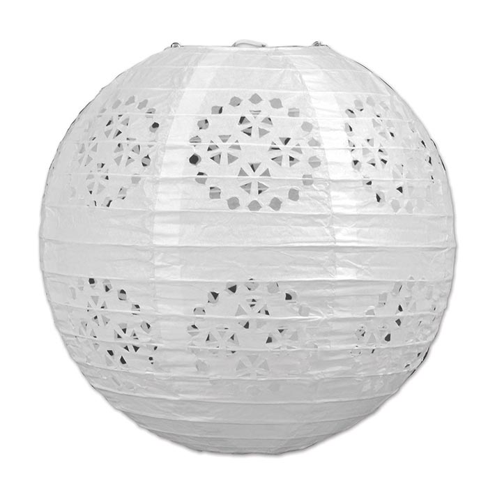 Click for larger picture of WHITE LACE PAPER LANTERNS PARTY SUPPLIES