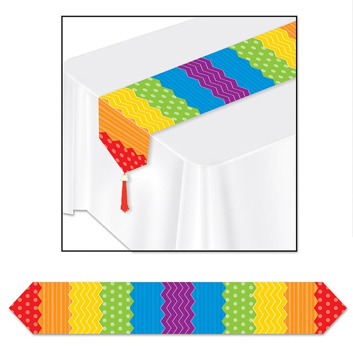Click for larger picture of DOTS & STRIPES TABLE RUNNER (12/CS) PARTY SUPPLIES