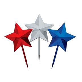 Click for larger picture of RED SILVER BLUE STAR PICK (3IN.) PARTY SUPPLIES