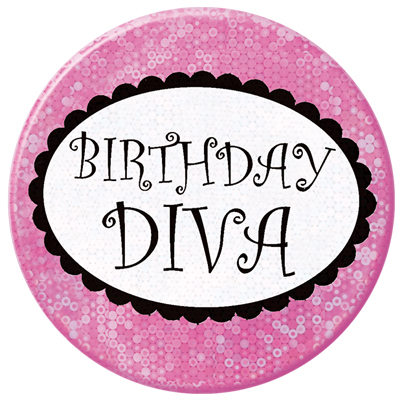 Click for larger picture of BIRTHDAY DIVA BUTTON (12/CS) PARTY SUPPLIES