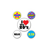 80'S DECADE PARTY BUTTONS - ASSORTED PARTY SUPPLIES