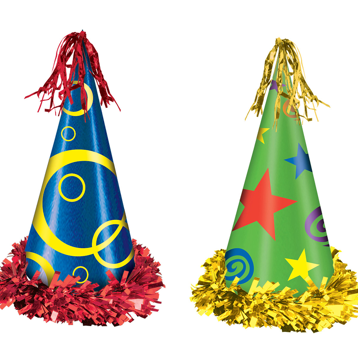 Click For Larger Picture Of FRINGED PRINTED FOIL PARTY HATS12 CS