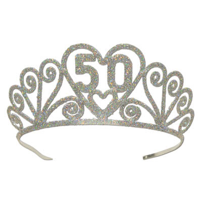 Click for larger picture of GLITTERED 50 TIARA (6/CS) PARTY SUPPLIES