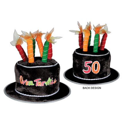 Click For Larger Picture Of 50 OVER THE HILL PLUSH BIRTHDAY CAKE HAT PARTY
