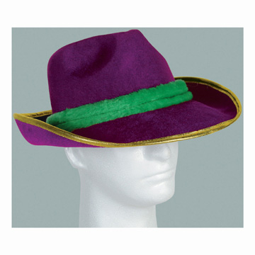 Click for larger picture of MARDI GRAS VEL-FELT FEDORA PARTY SUPPLIES
