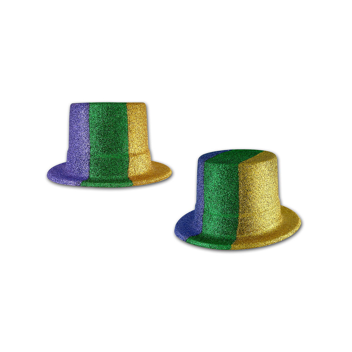 Click for larger picture of GLITTERED MARDI GRAS TOP HAT(24/CS) PARTY SUPPLIES
