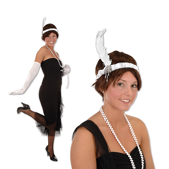 WHITE FLAPPER HEADBAND (12/CS) PARTY SUPPLIES
