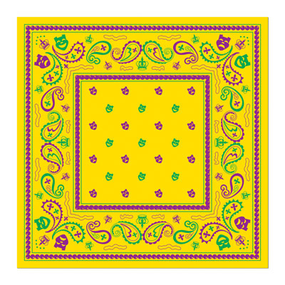 Click for larger picture of MARDI GRAS BANDANA (12/CS) PARTY SUPPLIES