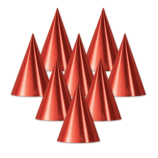FOIL CONE HAT RED (48/CS) PARTY SUPPLIES