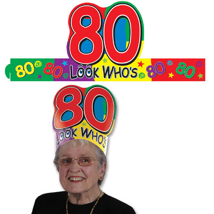 Click for larger picture of LOOK WHO'S 80 HEADBAND (24/CS) PARTY SUPPLIES