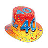 HAPPY 40 BIRTHDAY RED-YLW HI-HAT (25/CS) PARTY SUPPLIES