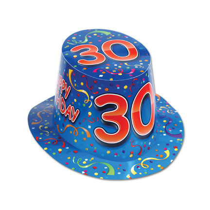 Click for larger picture of HAPPY 30 BIRTHDAY BLUE HI-HAT (25/CS) PARTY SUPPLIES