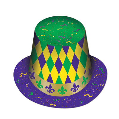 Click for larger picture of MARDI GRAS HI-HAT (25/CS) PARTY SUPPLIES