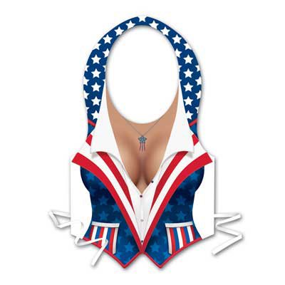 Click for larger picture of PLASTIC FEMALE PATRIOTIC VEST NON-PACKAG PARTY SUPPLIES