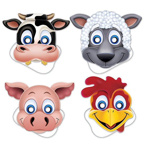Click for larger picture of FARM ANIMAL MASKS PARTY SUPPLIES