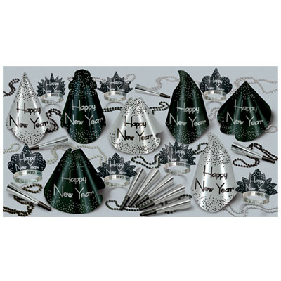 Click for larger picture of SPARKLING SILVER ASST FOR 25 PARTY SUPPLIES