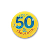 50 AND FABULOUS SATIN BUTTON (6/CS) PARTY SUPPLIES