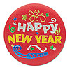 HAPPY NEW YEAR SATIN BUTTON (6/CS) PARTY SUPPLIES
