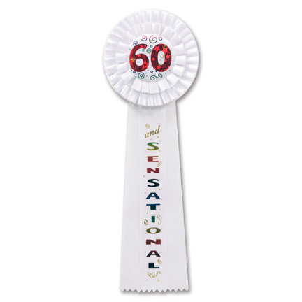 Click for larger picture of 60 AND SENSATIONAL DELUXE ROSETTE (3/CS) PARTY SUPPLIES