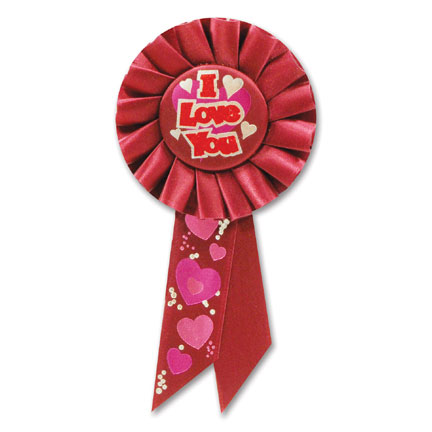 Click for larger picture of I LOVE YOU ROSETTE PARTY SUPPLIES