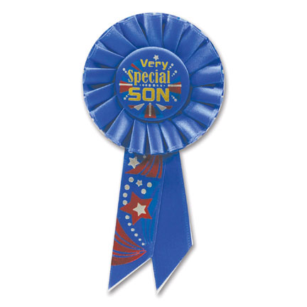 Click for larger picture of VERY SPECIAL SON ROSETTE PARTY SUPPLIES