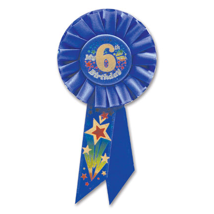 Click for larger picture of MY 6TH BIRTHDAY ROSETTE-BLUE (6/CS) PARTY SUPPLIES