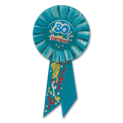 Click for larger picture of 80 & ENERGIZED ROSETTE PARTY SUPPLIES
