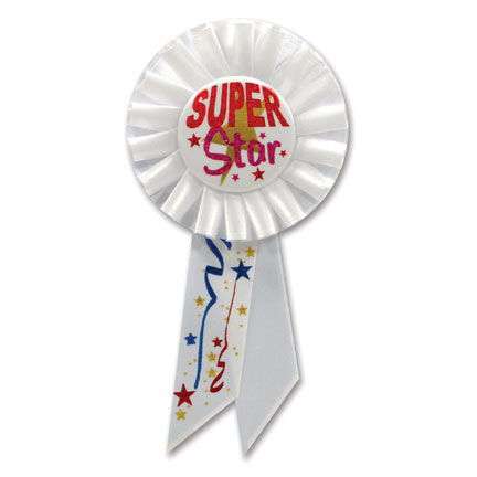 Click for larger picture of SUPER STAR ROSETTE (6/CS) PARTY SUPPLIES