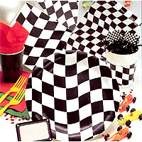 BLACK & WHITE CHECK PAPER TABLECOVER PARTY SUPPLIES